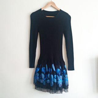黑色針織寶藍花短裙長上衣