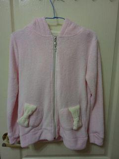 日系 軟妹 蝴蝶結 耳朵造型 可愛 毛料 鑰匙拉鍊 連帽外套