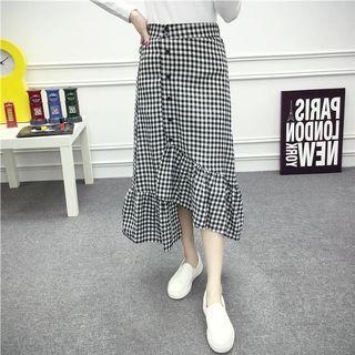 二手 韓版單排扣荷葉邊格子半身魚尾裙 約M-L