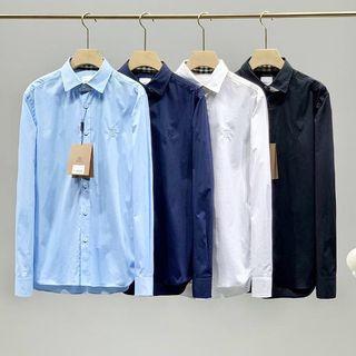 代購 英國Burberry巴寶莉素面刺繡Logo長袖襯衫 白標