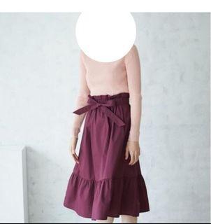 日牌 uniqlo 花苞 蝴蝶結 高腰 綁帶 荷葉邊 魚尾 造型 長裙 有口袋 酒紅色 暗紅色