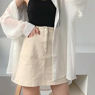 米白a字牛仔短裙(可議價)