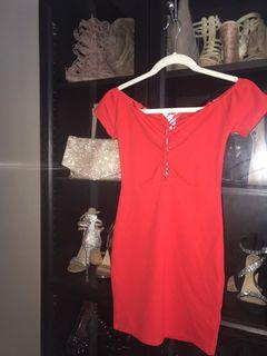 Bodycon Cocktail Red Dress Womens XS
