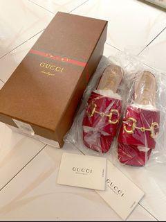 Gucci Red Deva horsebit detailed leather slides sandals 古馳 紅色 金扣 涼鞋 拖鞋
