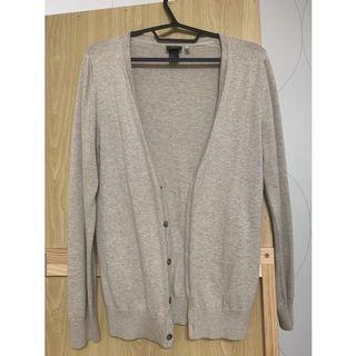 H&M杏灰色開襟薄針織外套#排行榜