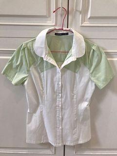 [Mastina]綠白女短袖襯衫