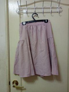 Pazzo 粉嫩色法式皺褶圓裙