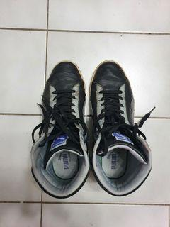 PUMA 黑色高筒休閒鞋 破鞋 舊鞋