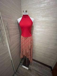 Red Top and Floral Skirt Set