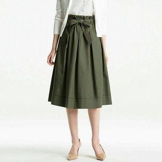 uniqlo 高腰綁帶 收腰蝴蝶結 花苞 圓裙 長裙 墨綠色