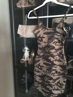 Women size XS stretchy army bodycon cocktail dress
