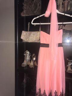 WOMENS Formal Pink/peach & Black Dress + scarf