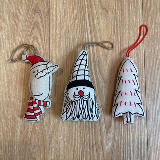 插畫風填充娃娃 聖誕節掛飾3件組 #防疫