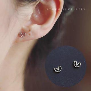 耳飾   摺紙造型ㄉ鏤空愛心 純銀 耳針 耳釘 耳環