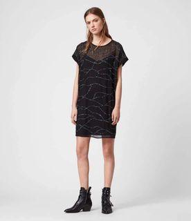 全新all saints黑色短袖直筒連身洋裝、附絲質背心裙內裏、涼爽舒適(S和M可穿)看圖看內文~賣場有滿額贈可自行搜尋#支持