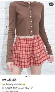 Brandy melville 格紋短褲紅 可小議