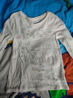 GAP女童白色長袖t 恤 size:M 8, 8 year
