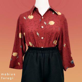 R0210 日常 紅底 油畫 花卉 短袖 襯衫 復古 花苞 古著