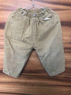 男童駝色厚絨外褲
