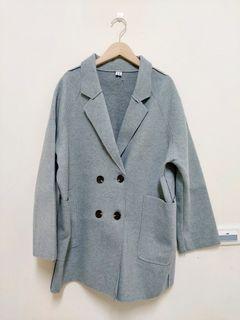 (全新)暖洋洋毛呢灰色落間大衣