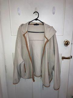 Fluffy white zip up hoodie