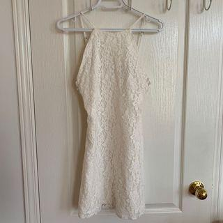 Forever21 White Lace Dress with Criss Cross Sides - Small
