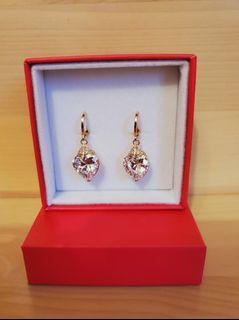 Heart Earrings.  Crystal clear