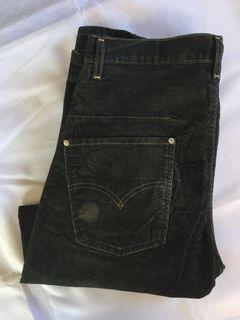 Levis Engineered Black Hitam Corduroy non Selvedge Jeans Denim Second Preloved Bekas Thrift