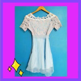 Periwinkle Sky Blue Mini Lace Dress