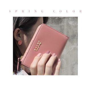 SAIME東京企劃真皮拉鍊皮夾中夾錢包 粉紅色💕