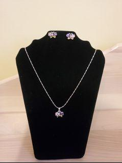Silver Multicolored Butterfly Necklace
