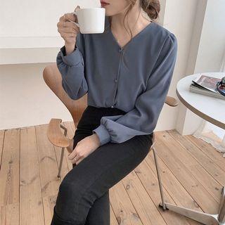 簡約V領素色百搭長袖襯衫 韓版女裝上衣襯衣