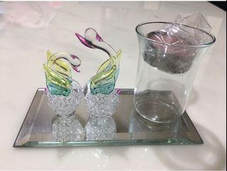 裝飾品/天鵝/玻璃/可當燭台或牙簽等小物/交換禮物