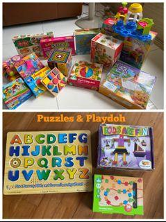 HABA german wooden puzzles set @ $30, Melissa & Dough ELC Puzzles @$80, Leapfrog table toy @$10, Baby Einstein flash cards @$1, Learning can be fun Mr Face & Make fun sentences, I can read flash cards, Hardcover popup books @$15,