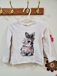 H&M女童可愛兔兔薄長袖2~4y 98~104cm#排行榜