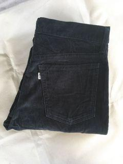 Levis Long Pants Vintage Navy Corduroy Jeans Denim non Selvedge Second Preloved Bekas Thrift