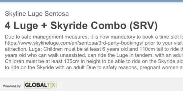 LUGE tickets x2 , 4 rounds luge and skyride