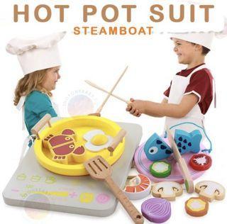 Mainan anak masak sayur steamboat hotpot/wooden cooking kitchen toy
