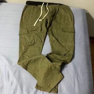 Mnml Olive Cargo Drawcord Pants