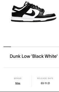 Nike Dunk Low 'Black White'