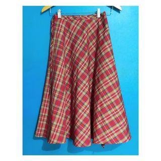 Red Plaid Long High Waist Wrap Skirt
