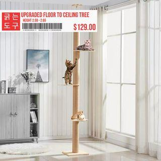 Solid Wood Cat Tower Pole Scratcher Condo