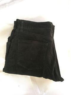 Uniqlo Long Pants Black Vintage Corduroy Jeans Denim non Selvedge Second Preloved Bekas Thrift