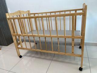 Wooden Baby Kid Cot w/ Bedding