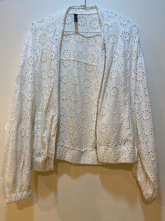 ZARA 刺繡 布蕾絲 外套 白色