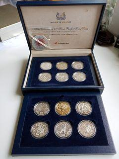 99.99% 2 Oz Silver Coin Set 1993-2004 Singapore Zodiac Series: Piedfort Silver Proof $10 Coins. Complete Set of 12 Coins and Certificates of Authenticity.