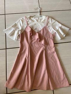 夏季不規則設計感收腰顯瘦花邊洋裝