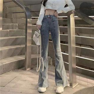 彈力顯瘦高腰牛仔喇叭長褲