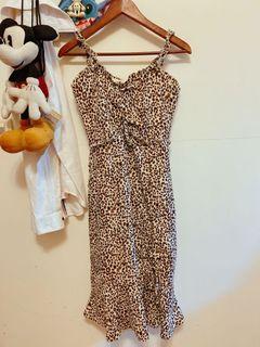 法式歐美抽繩豹紋長洋裝