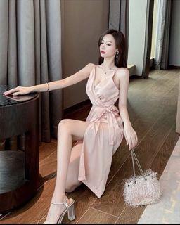 冰絲玫瑰金綁帶連身洋裝